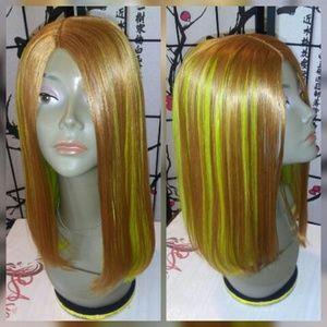 Green blonde straight bob human hair wig